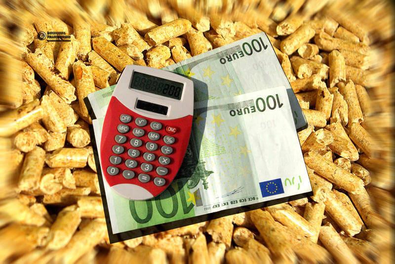 200€ und ein Taschenrechner vor einem Pellets-Hintergrund. Link zum Thema Kosten & Preise