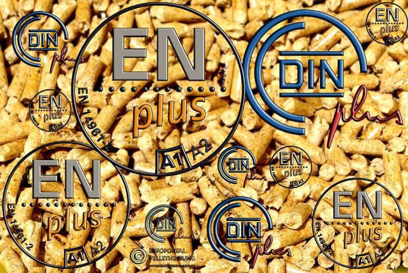 Qualität und die Normen. Bild zeigt ENplus und DINplus Siegel auf einem Pelletshintergrund